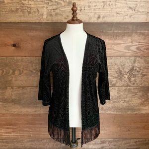 Xhilaration Black Velvet Fringed Kimono